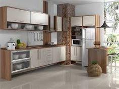 Resultado de imagem para balcão pia de cozinha madeira com porta de vidro