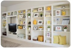 Built-in bookcase from Ikea bookshelves. From the Ikea hacker website. Ikea Bookcase, Built In Bookcase, Ikea Shelves, Bookcase Styling, Bookshelf Design, Storage Shelves, Diy Bookshelf Wall, Decorate Bookshelves, Bookcase Makeover