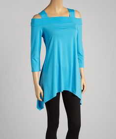This Turquoise Cutout Sidetail Tunic - Women & Plus is perfect! #zulilyfinds