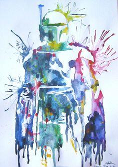 Splatter paint Bobba Fett