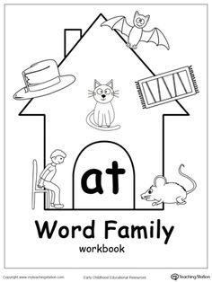 AT words,AT word families,word families,word family workbook,kindergarten worksheets,kindergarten workbooks,preschool printable worksheets