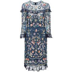 Needle & Thread     Bleach Indigo Butterfly Garden Dress ($600) ❤ liked on Polyvore featuring dresses, needle & thread, blue, beaded dress, knee length sequin dress, blue sequin dress, flower print dress and colorful dresses