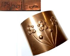 Early Vintage Rebajes Copper Cuff. Flowers.  Circa 1940s / NYC.