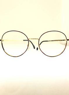 1d7d2e64784 Big Round Lennon Eyeglass Frame NOS Harry Potter Glasses 53mm Windsor  Circular 80s Does 20s Rx Quality Art Deco Tortoise on Golden Metal