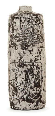 JACQUES BLIN (1920-1996) An earthenware lamp leg, incised decoration, enamelled, incised signature. Height. 8 7/8 IN. Haut. 22,6 cm