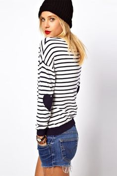 Embroidered Elbow Patch Striped Sweater [FKBJ10145]- US$34.99 - PersunMall.com