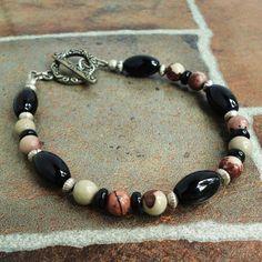 Gemstone Beaded Bracelet for Men Crazy Horse by mamisgemstudio, $24.95