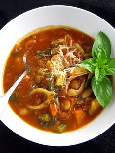 minestrone soup, freshly grated parm, ciabatta bread