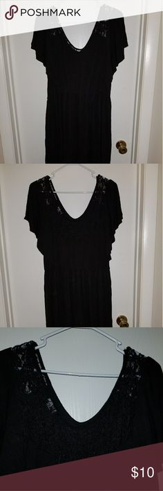 Deb black dress **Deb black dress size 1x-2x** -Top and upper back portion is lacy.  -Some of the elastic on the lace is fraying (see pic)  ♡Please make offer if interested♡ Will do bundles.👕👖👗 Deb Dresses