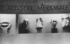 At Der ewige Jude (The Eternal Jew),  a Nazi anti-Jewish propaganda exhibition, a case features typical Jewish external features. Munich, Germany, November 1937.