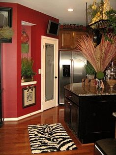 Black Kitchen Walls Brown Cabinets red kitchen walls | the modern home decor: red wall painting ideas