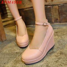 ENMAYER 2015 new women closed platform open toe ankle strap pump pump  classic plain round wedge shoes Buckle Strap size 34 39-in Women s Pumps  from Shoes on ... e2ec3c685c