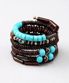 Take a look at this Brown & Turquoise Bead Coil Bracelet by ZAD on #zulily today!
