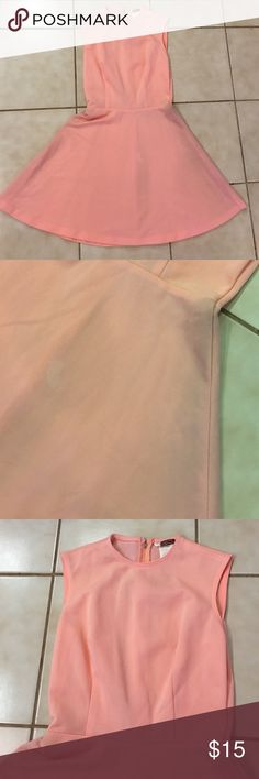 Vintage peach a-line dress Great condition but has a couple spots alon the front as seen in 2nd picture. Priced accordingly. Marked size 16 but fits medium Dresses
