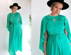 Vintage 70's Teal Disco Cape Maxi Dress Women's Medium Large Retro/Disco/Hippie/Boho/Funk by thiefislandvintage on Etsy