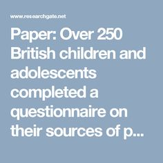 Httpstatementofpurposeexamplesstatement of purpose paper over 250 british children and adolescents completed a questionnaire on their sources of personal fandeluxe Images