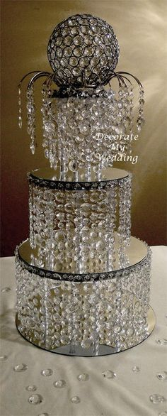 Wedding Decorations - Crystal Cake Stand Wedding Centerpiece