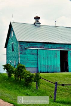 turquoise barn. country love... One day maybe I can see this when I look out the window of my Florida home. A girl can dream!
