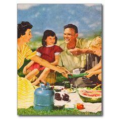 Vintage Kitsch Picnic Fifties Family Picnic Postcards