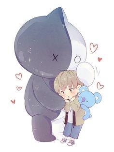 Oh No dont do this to me this is too cute! Bts Taehyung, Rapmon, Bts Jimin, Namjin, Memes Bts Español, Fanart Kpop, Bts Love, Kpop Drawings, Bts And Exo