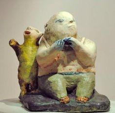 The Enthusiast, by Heidi Preuss Grew Ceramic Figures, Ceramic Art, Garden Sculpture, Lion Sculpture, Beast, Folk, Artsy, Creatures, Pottery