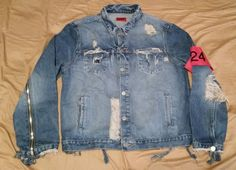 e9400270100 424 four two four on fairfax distressed denim jacket with arm band sz .  Large
