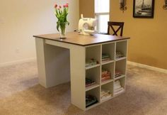 I want to make this!  DIY Furniture Plan from Ana-White.com  This counter height project table features two drawers and 18 cubbies to keep all of your crafting supplies handy. By simply building two of the cubby bookcases from the Modular Offfice Collection and adding a desktop, voila! we've got a stylish, simple project table.