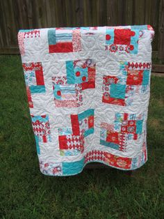 vintage modern baby girl quilt pink red aqua turquoise Riley Blake Sugar and Spice