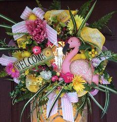 Beautiful Everyday Wreath, Summer Wreath, Flamingo Wreath, Welcome ...