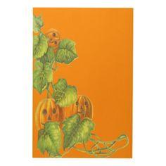 Smile Pumpkin Vine Vines Jack O Lantern Wood Print