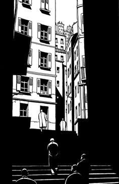 Marc-Antoine Mathieu - From Marc-Antoine Mathieu's Le Cœur des Ombres. Not only a master of light and shadow, but of the form of comics and the seemingly (in his hands) endless possibilities. Comic Books Art, Comic Art, Bd Design, Comic Layout, Graphic Novel Art, Ligne Claire, Black And White Illustration, Linocut Prints, Grafik Design