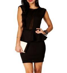 Black peplum dresses | Home Black Cap Sleeve Illusion Scuba Peplum Dress