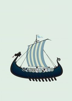 Blue viking ship