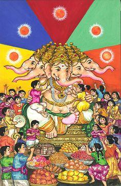 Art & Photos - Panchaganapati with Children Ganesha Drawing, Lord Ganesha Paintings, Lord Shiva Painting, Ganesha Art, Sri Ganesh, Shri Ganesh Images, Ganesha Pictures, Krishna Hindu, Hindu Deities