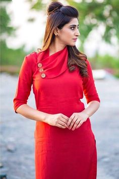 Actress Varshini Sounderajan Latest Photos In Red Dress Kurti Sleeves Design, Sleeves Designs For Dresses, Kurta Neck Design, Silk Kurti Designs, Kurta Designs Women, Kurti Designs Party Wear, Neckline Designs, Dress Neck Designs, Kurti Embroidery Design