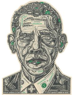 Barack Obama by Mark Wagner | Made out of One Dollar Bills | Money Art