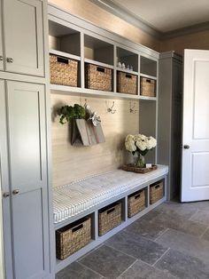 Love the shutter idea for mud room / laundry room !Love the shutter idea for mud room / laundry room ! Love the shutter idea for mud room / laundry room Mudroom, Mudroom Decor, Room Design, Entryway Decor, Doors Interior, Home Decor, House Interior, Home Interior Design, Diy Mudroom Bench