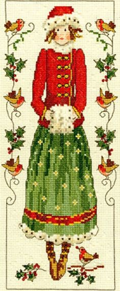 BOTHY THREADS COUNTED CROSS STITCH KIT - Country Lass HOLLY - XCL4 - 12*29 cm