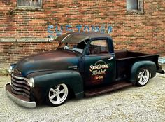 Patina Rod Jalopy Rat Rod Daily driver Chevy Advanced Design pickup truck on five spokes and almost on the ground