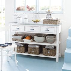 White Console Table with 3 Baskets