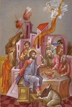 The artwork clearly shows the story of George Kordis, the Anointing of the Lord's Feet at Simon's House, which is also found in the Byzantine scriptures. Religious Images, Religious Icons, Religious Art, Byzantine Icons, Byzantine Art, Catholic Art, Orthodox Icons, Sacred Art, Postmodernism