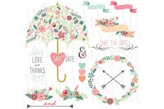 Floral Wedding Umbrella Elements by YenzArtHaut on Creative Market