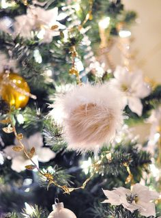 I made cute furry poms for my Christmas tree as well as used the leftover gold vine trim to dress up my tree. I love using unexpected items as holiday décor, especially ones I can make myself.