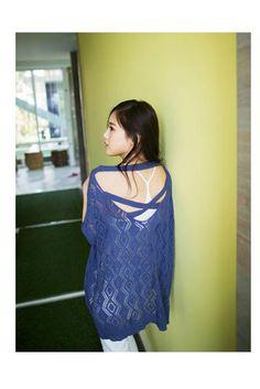 Blue Back Cross Knit Top, iAnyWear