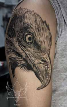 Tattoo орел на плече - tattoo's photo In the style Black and grey, Eag Feather Tattoo Design, Feather Tattoos, Love Tattoos, Tatoos, Raven Tattoo, I Tattoo, Eagle Tattoos, Dark Ink, Inked Magazine