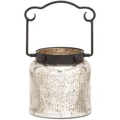 Decmode Mercury Glass and Metal Lantern, Multi Color, Multicolor