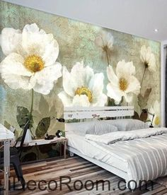 Retro White Flowers Wallpaper Wall Decals Wall Art Print Mural Home Decor Gift - Schlafzimmer - Flower Canvas, Flower Art, Art Flowers, Flowers Nature, Lotus Flower, Paper Flowers, Flower Wallpaper, Wall Wallpaper, Flower Wall Decals