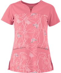Grey's Anatomy Scrubs Signature Soleil Flamingo Print Top