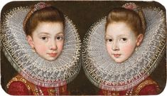 """Antonio Ricci Portrait of Juana and Isabel de Aragón y Pernstein, ca. Private collection (source: Rob Smeets Old Master Paintings) """"The girls' identity and the authorship are confirmed on. Historical Art, Historical Costume, Historical Clothing, Baroque Painting, Baroque Art, Academic Art, European Paintings, Renaissance Art, Renaissance Fashion"""