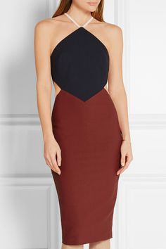 Burgundy, navy and white stretch-ponte Concealed hook and zip fastening at back 54% polyester, 38% viscose, 8% elastane; lining: 100% polyester Dry clean Imported